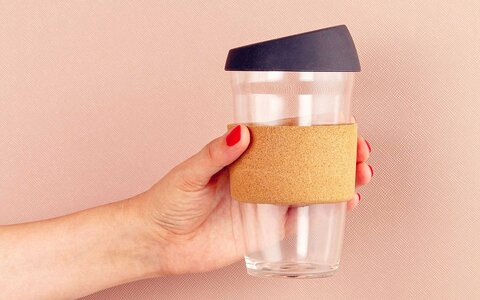 Good for the environment: reusable cups made from plastic and glass