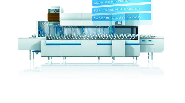 flight type dishwasher with heat recovery